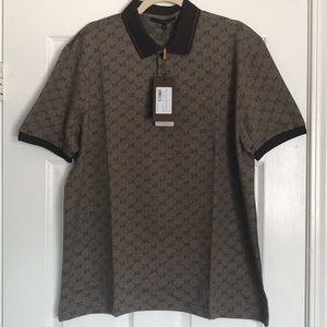 6226cdb5f33 GUCCI Shirts - 💯Gucci Men s Polo Shirt  GG Print Brown XL   NWT